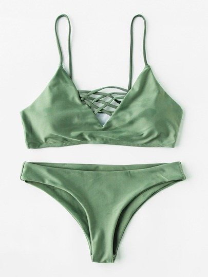 Lattice Front Bikini Set