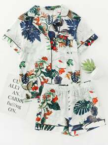 Tipping Detail Tropical Shirt And Shorts Pajama Set