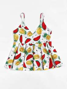 Fruit Print Box Pleated Cami Top