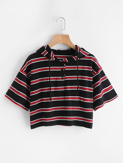 Drop Shoulder Drawstring Striped Hoodie