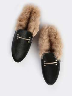 Fur Lined Loafers BLACK