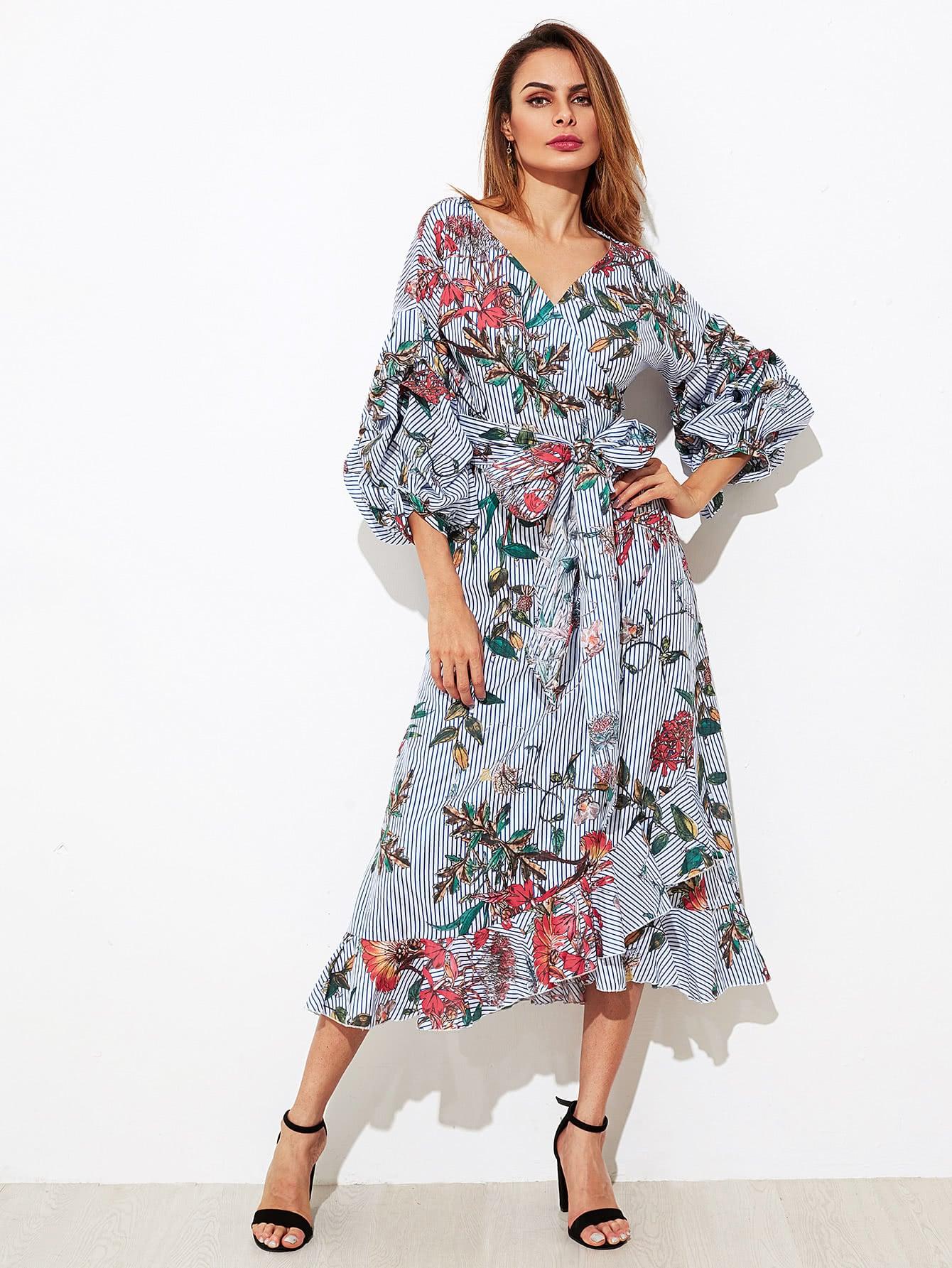 Mixed Print Gathered Sleeve Frilled Wrap Dress mixed print dress
