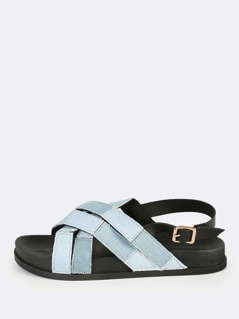 Denim Patch Cross Sling Back Sandals DENIM
