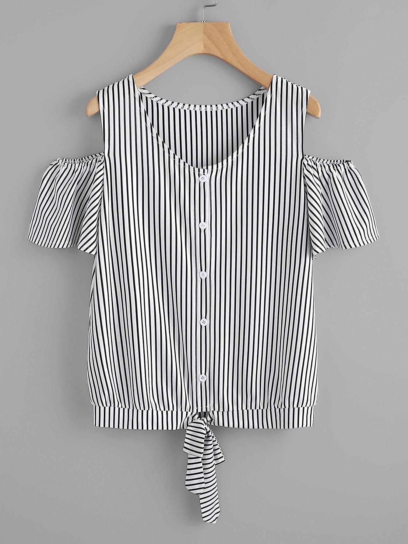 Фото Vertical Striped Open Shoulder Tie Hem Tee. Купить с доставкой