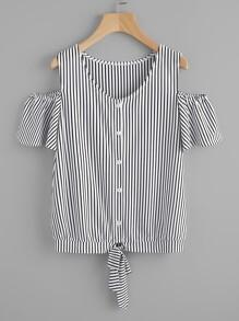 Tee-shirt épaules dénudées à rayures avec nœud