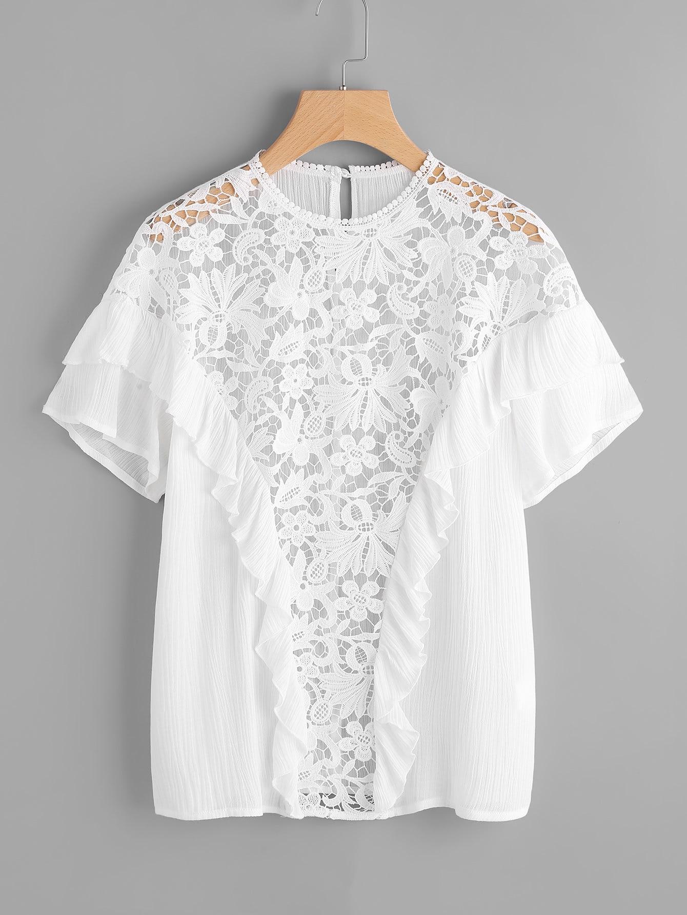 Фото Floral Lace Insert Ruffle Detail Blouse. Купить с доставкой