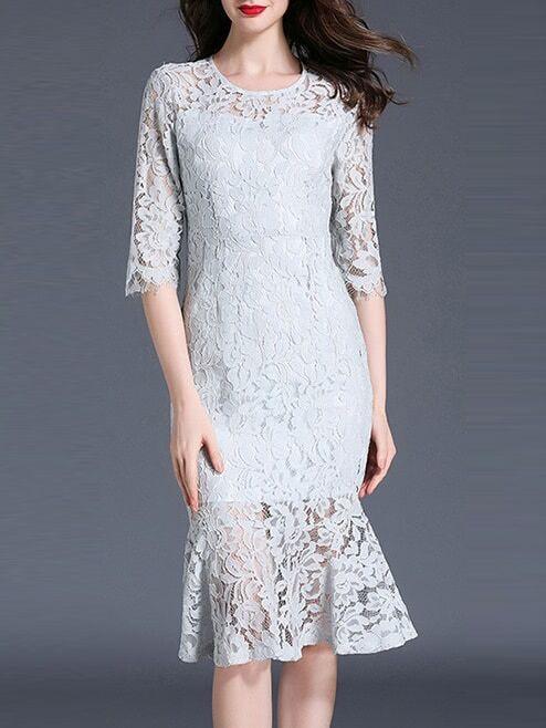 Фото Crew Neck Lace Fishtail Dress. Купить с доставкой
