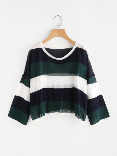 Contrast Wide Striped Knit Sweater