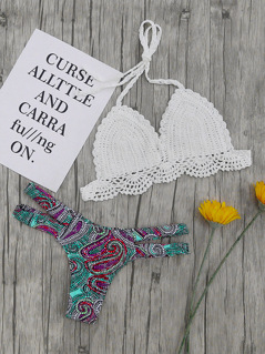 Crochet Halter Top With Paisley Print Bikini Set