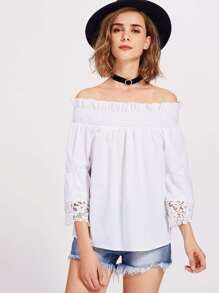 Lace Trim Fluted Sleeve Shirred Bardot Top pictures