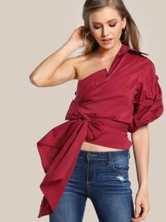 Single Shoulder Mock Collar Button Up Top WINE