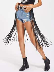 Double Buckle Western Belt With Longline Fringe