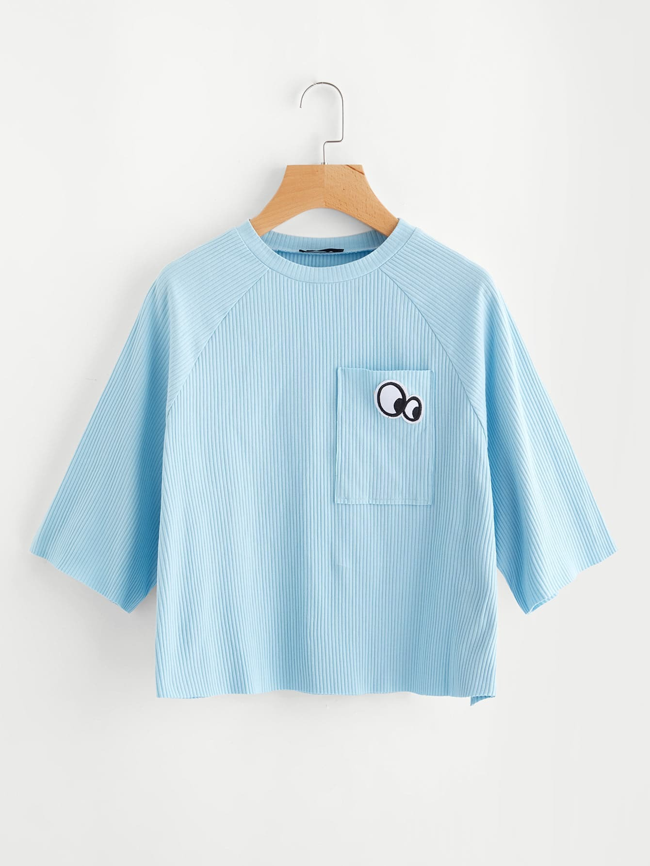 Raglan Sleeve Eye Patch Pocket Ribbed Tee