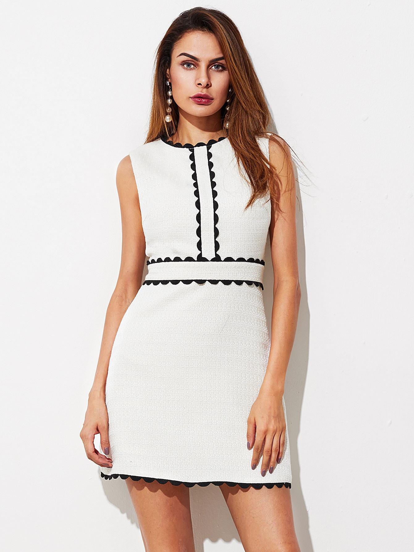 Купить Контрастное модное платье с фестонами, Andy, SheIn