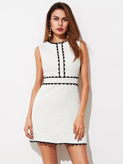 Contract Scallop Lace Trim Textured Dress