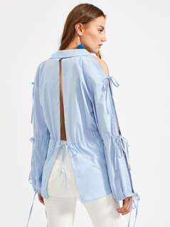 Bow Tie Split Sleeve And Back Blouse