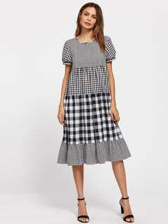 Puff Sleeve Mixed Gingham Dress