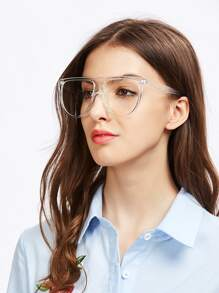 Flat Top Oversized Clear Glasses