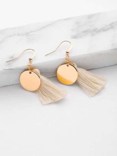 Tassel & Sequin Design Drop Earrings