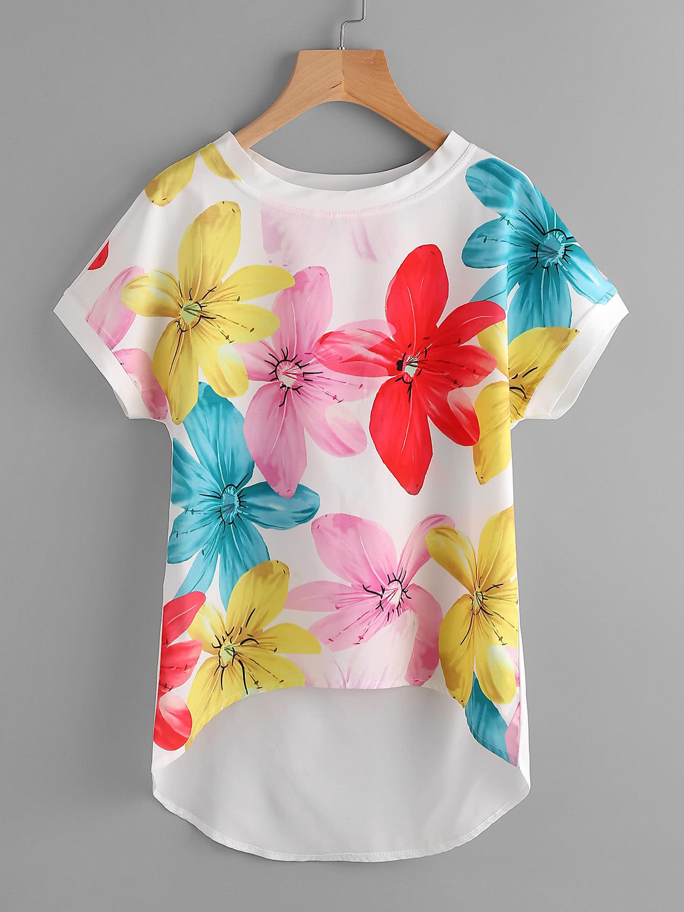 Dolman Sleeve Dip Hem Florals Chiffon Blouse all over florals dip hem shirt