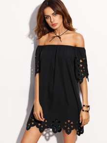 Laser Cut Out Bardot Neckline Dress