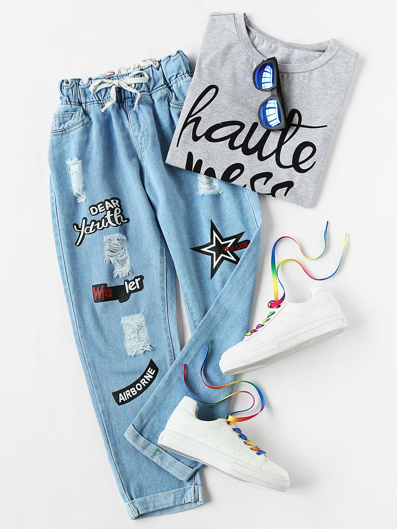 Фото Ripped Cuffed Offset Printing Jeans. Купить с доставкой