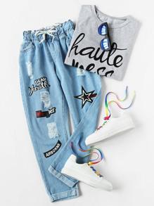 Jeans stampati offset stampati