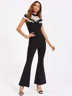 Fishnet Yoke Lace And Ruffle Detail Flared Jumpsuit