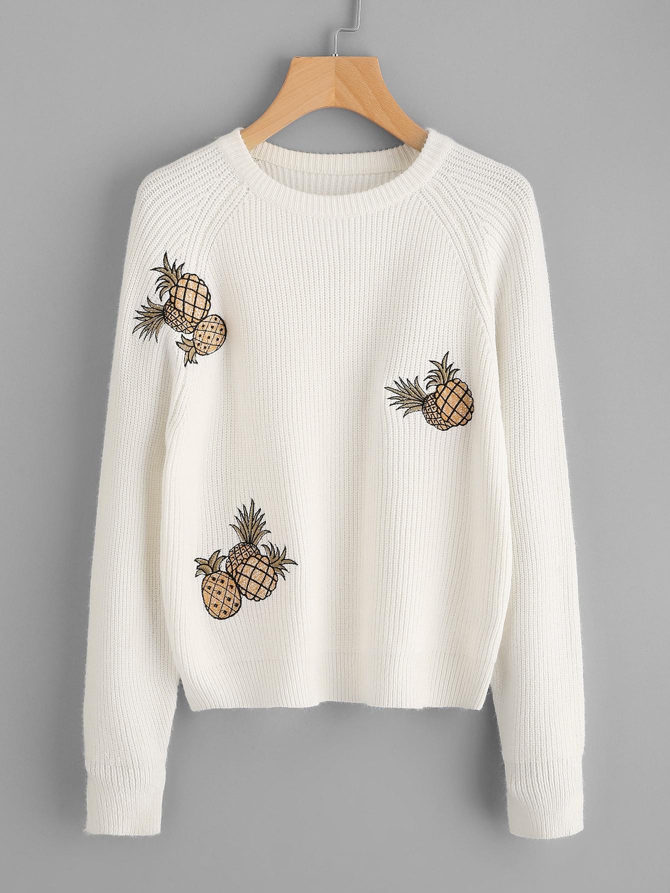 Pineapple Embroidered Raglan Sleeve Jumper sweater170720478