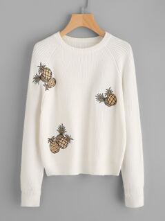 Pineapple Embroidered Raglan Sleeve Jumper