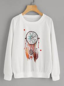 Graphic Print Raglan Sleeve Ribbed Trim Sweatshirt