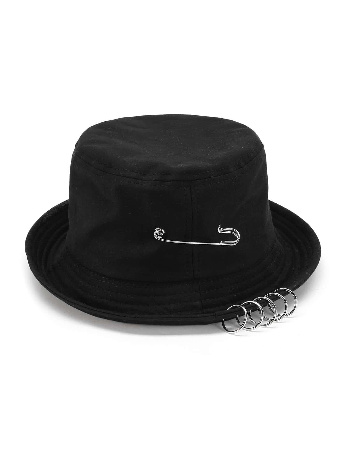 Pin & Ring Embellished Bucket Hat