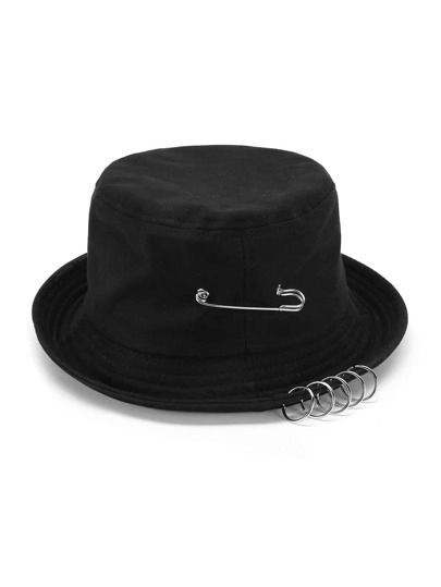 Pin & Ring Embellished Bucket Hat