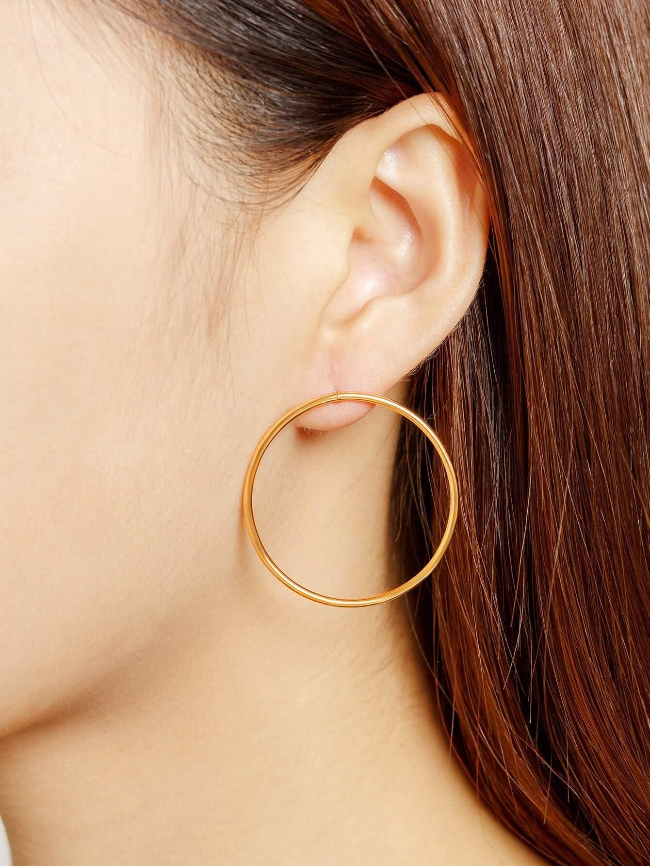 Фото Minimalist Metal Hoop Earrings. Купить с доставкой