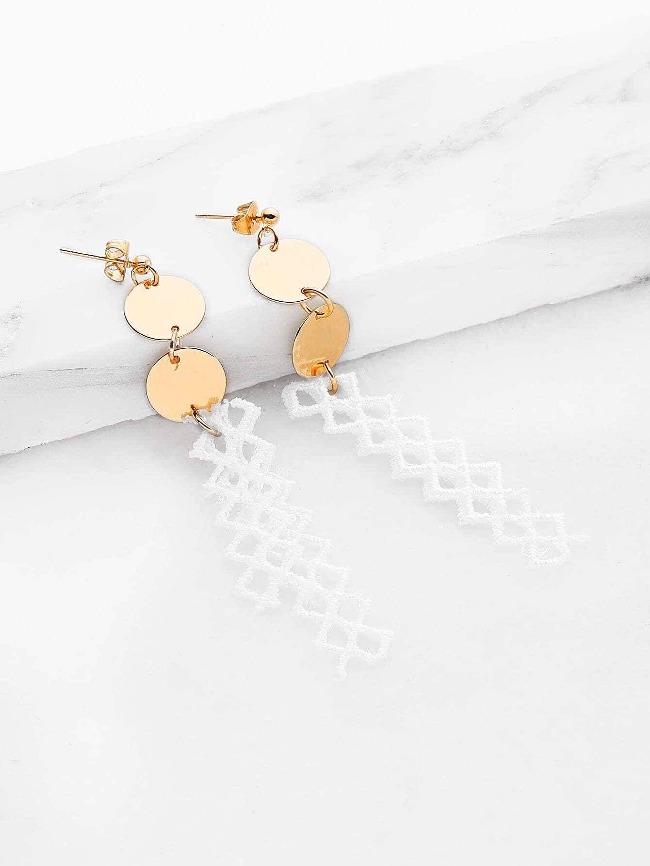 Фото Lace Drop Earrings With Sequin. Купить с доставкой