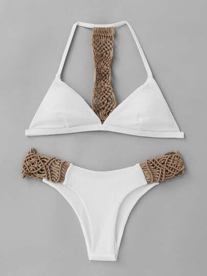 Ensemble de bikini triangle tissé
