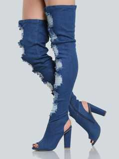 Frayed Peep Toe Denim Thigh Highs BLUE DENIM