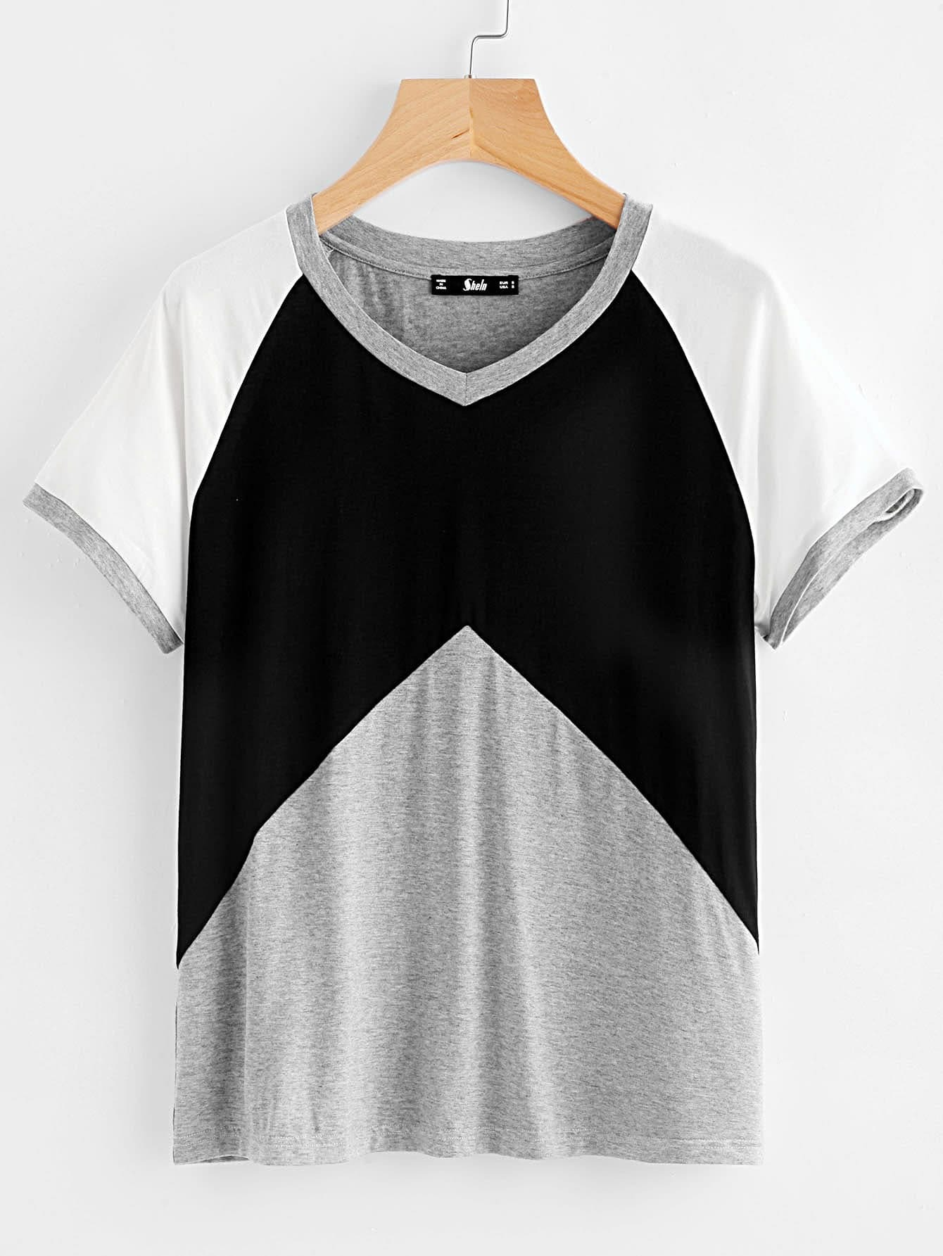 Heather Knit Raglan Sleeve Cut And Sew Tee tee170718710