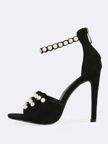 Faux Suede Studded Pearl Heels BLACK