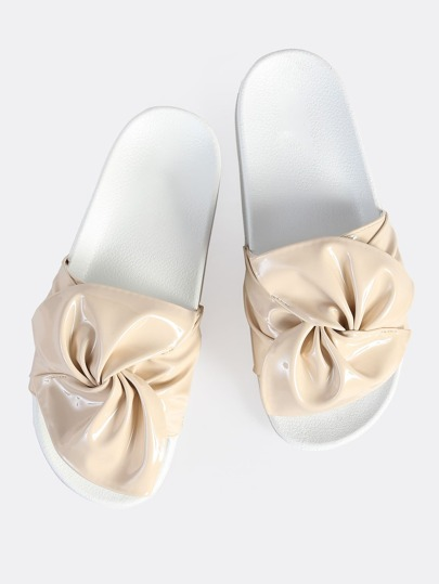 Ruched Patent Slides NUDE