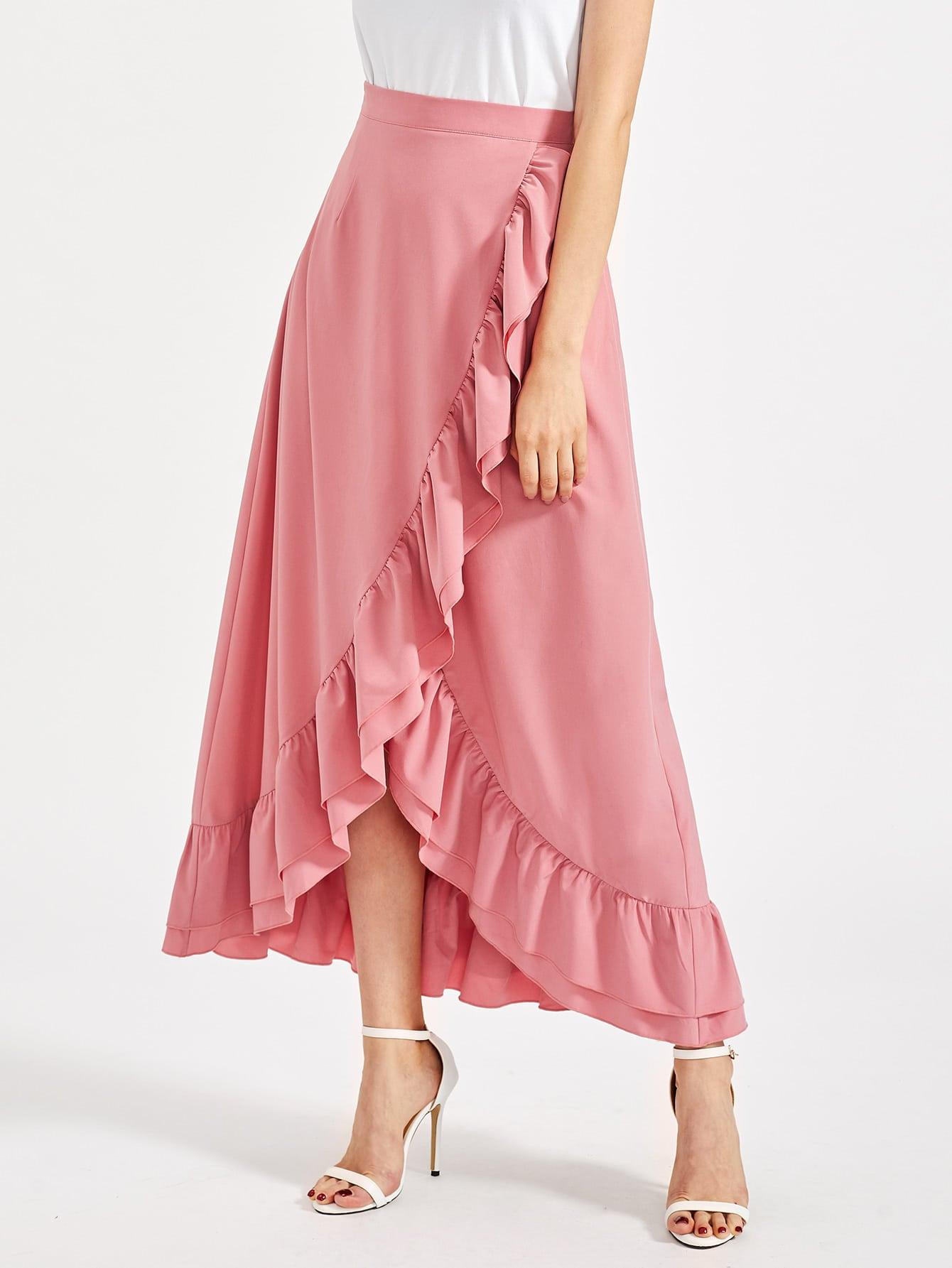 Фото Flounce Trim Overlap Skirt. Купить с доставкой