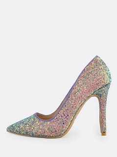 Pointy Toe Glitter Stiletto Pump ICE BLUE