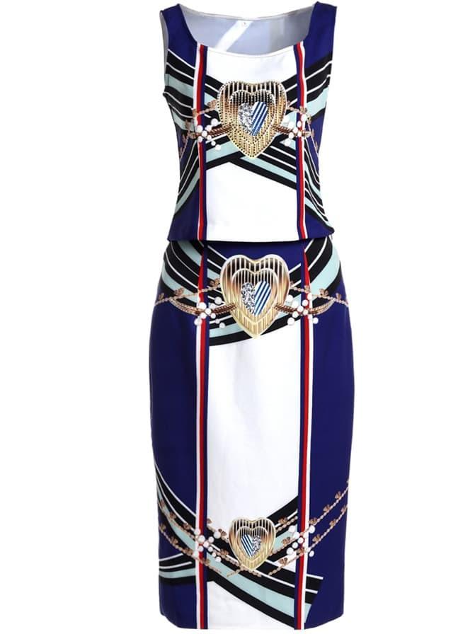 Фото Color Block Print Top With Bodycon Skirt. Купить с доставкой