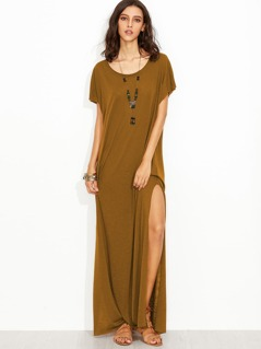 Side Split Maxi Tee Dress