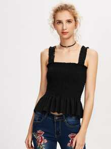 Frill Trim Shirred Tank Top