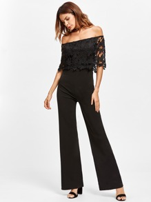 Hollow Out Lace Layered Bardot Jumpsuit