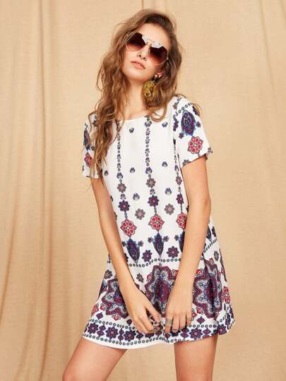 Mandala Print Short Sleeve Dress
