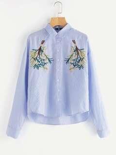 Symmetric Flower Bunch Embroidered Pinstripe Shirt