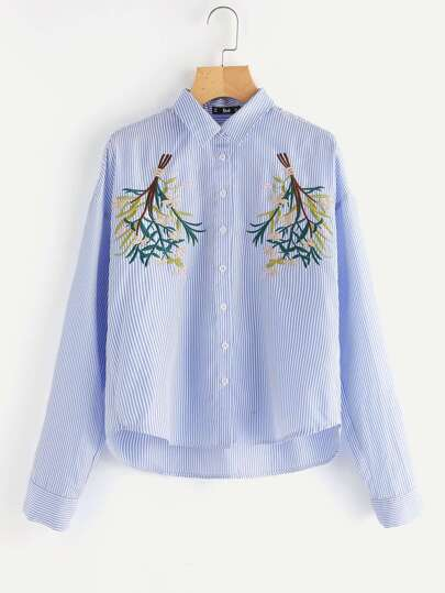 Symmetric Flower Bunch Embroidered Pinstripe Shirt