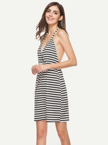 Contrast Striped T-Strap Back Surplice Dress